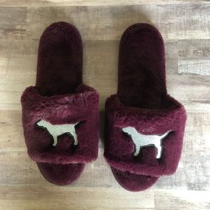 VS PINK Plum Fuzzy Slippers
